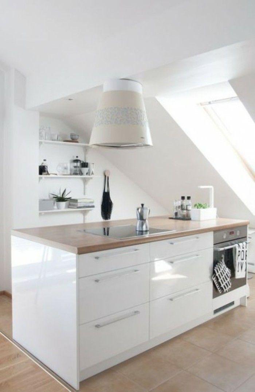 Dachgeschosswohnung Kücheneinrichtung Dachschräge Deko Ideen Küche50