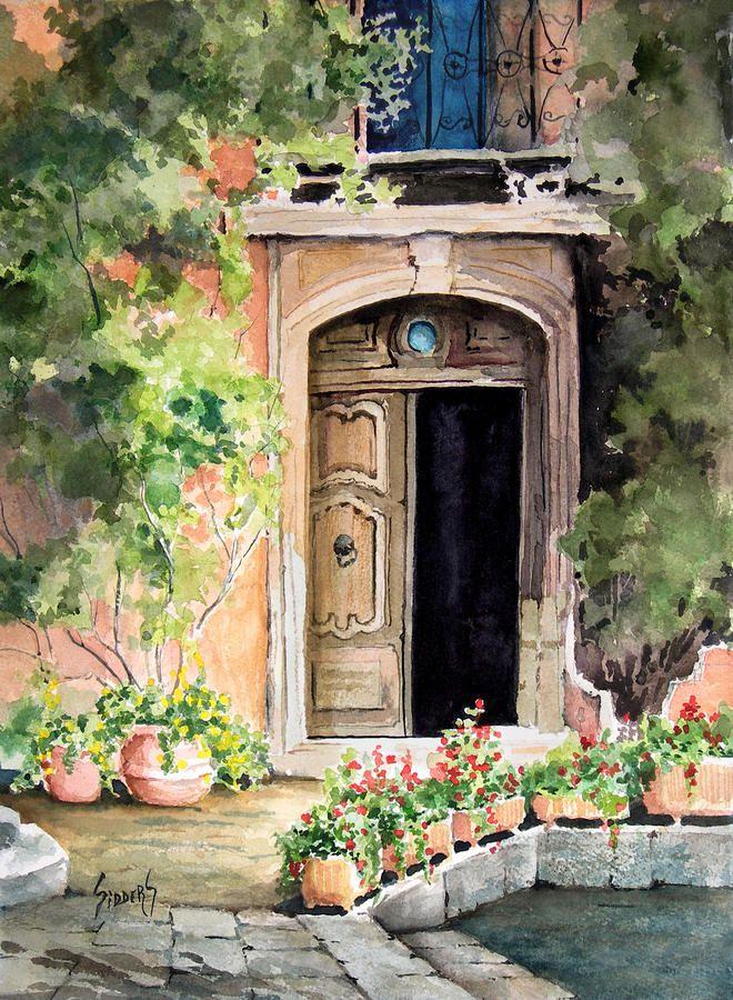 The Open Door By Sam Sidders Garden Painting Watercolor