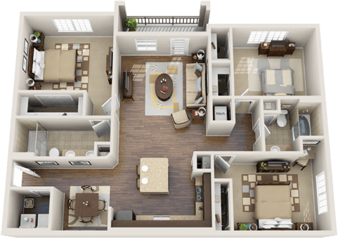 50 Four 4 Bedroom ApartmentHouse Plans 3d Apartments and 3d