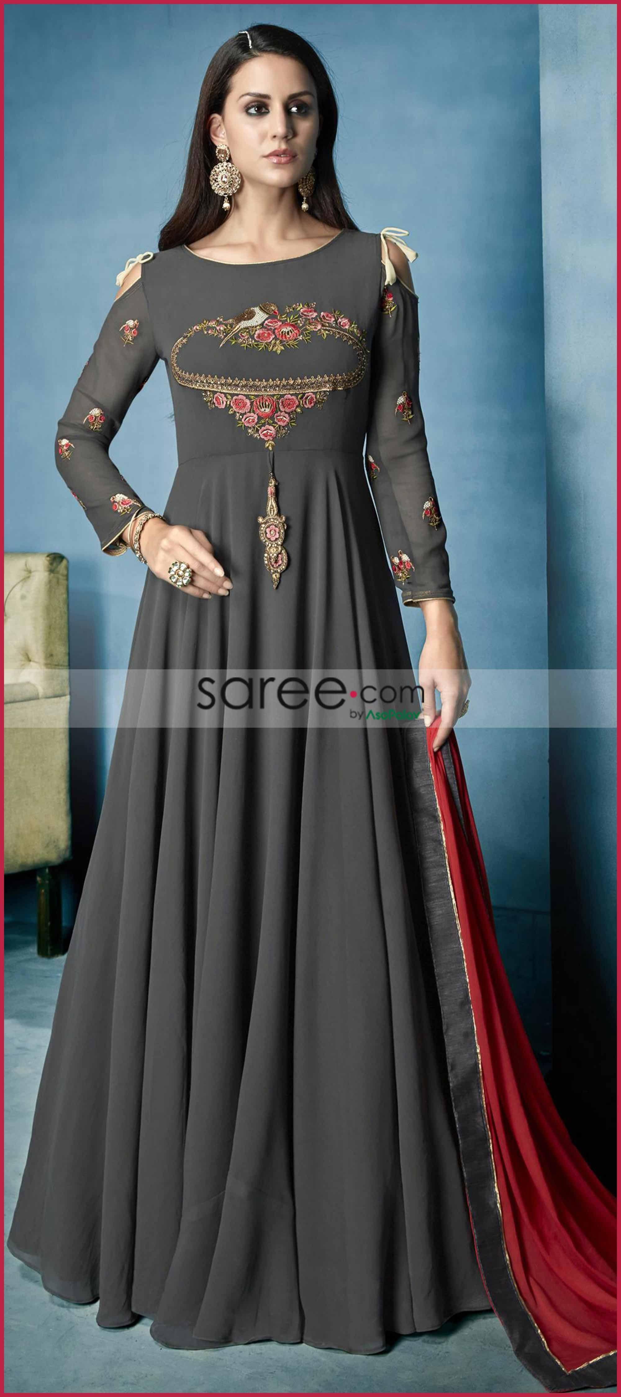 851b50336ffc0 Grey Georgette Designer Cold Shoulder Anarkali Suit with Thread Embroidery