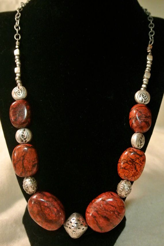 Handmade Gemstone Necklace in Red, Black, and Silver
