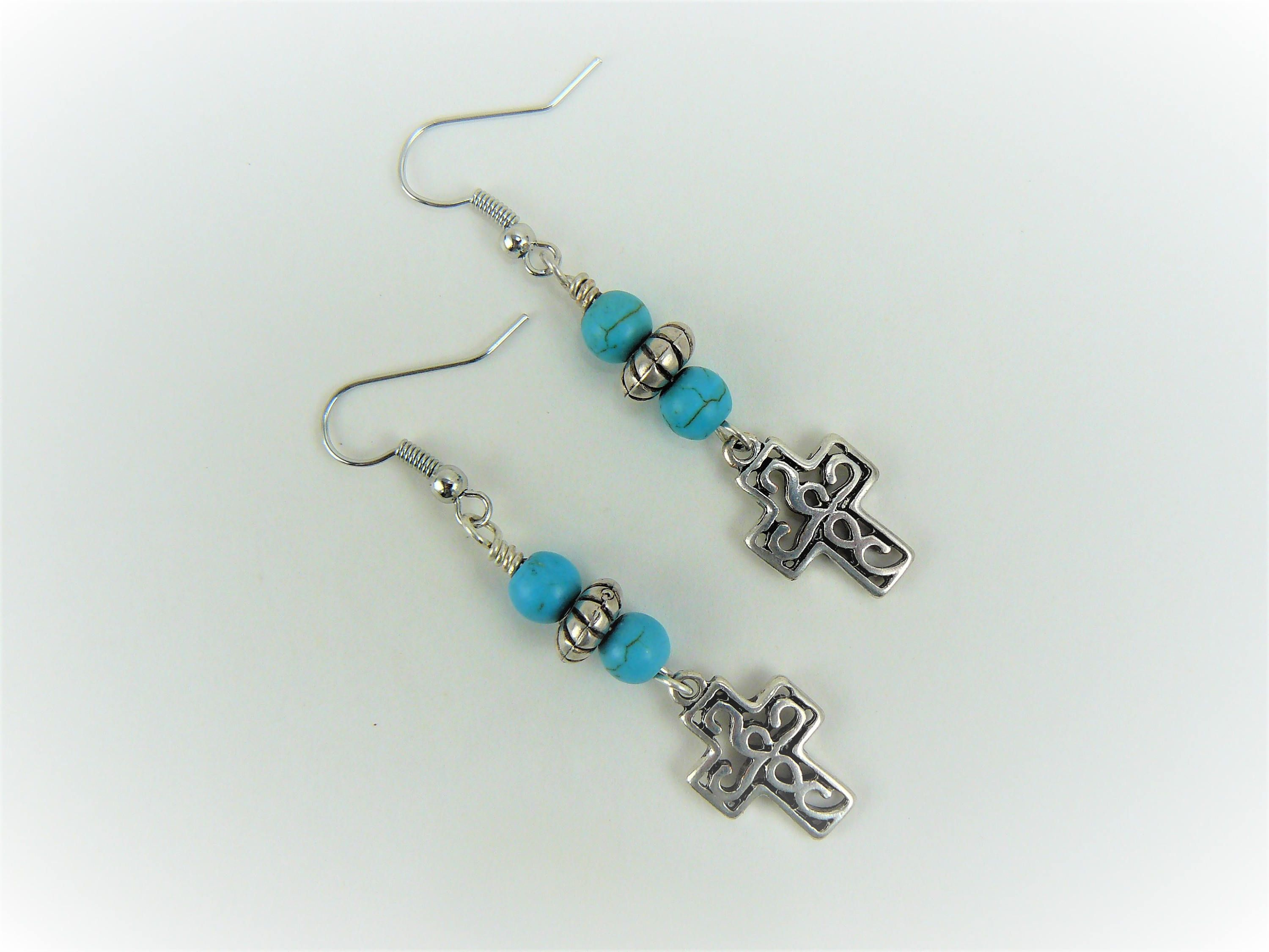 Silver Cross Earrings Turquoise Dangle Boho Drop
