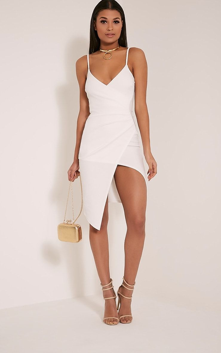 Lauriell White Wrap Front Crepe Midi Dress Celebrity Dresses Wedding Guest Outfit Summer Midi Dress [ 1180 x 740 Pixel ]