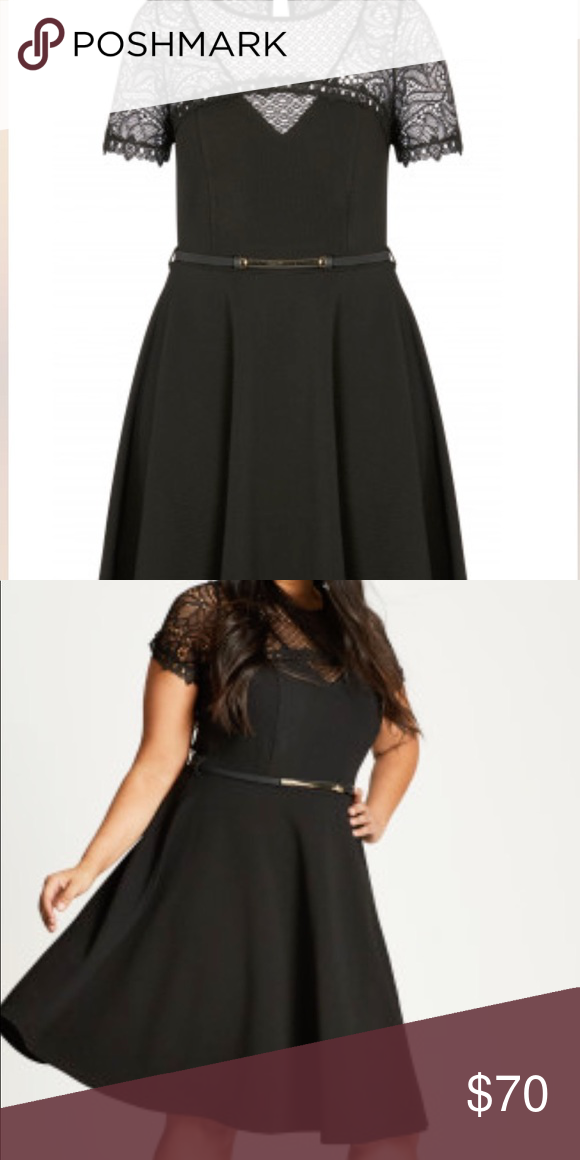 Lace Plus Size Fit & Flare Dress Perfect dress for a wedding guest or a fun night out! Dress it up or dress it down. Fits true to size.  -Lace Sleeves - Fitted waist with removable belt  - Soft A-line skirt City Chic Dresses
