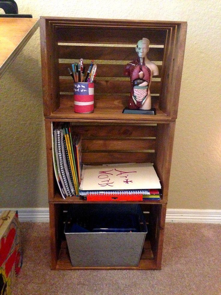 Photo of DIY Wooden Crate Bookshelf -, #bookshelf #crate #DIY #wooden #Woodencratesbooksh …