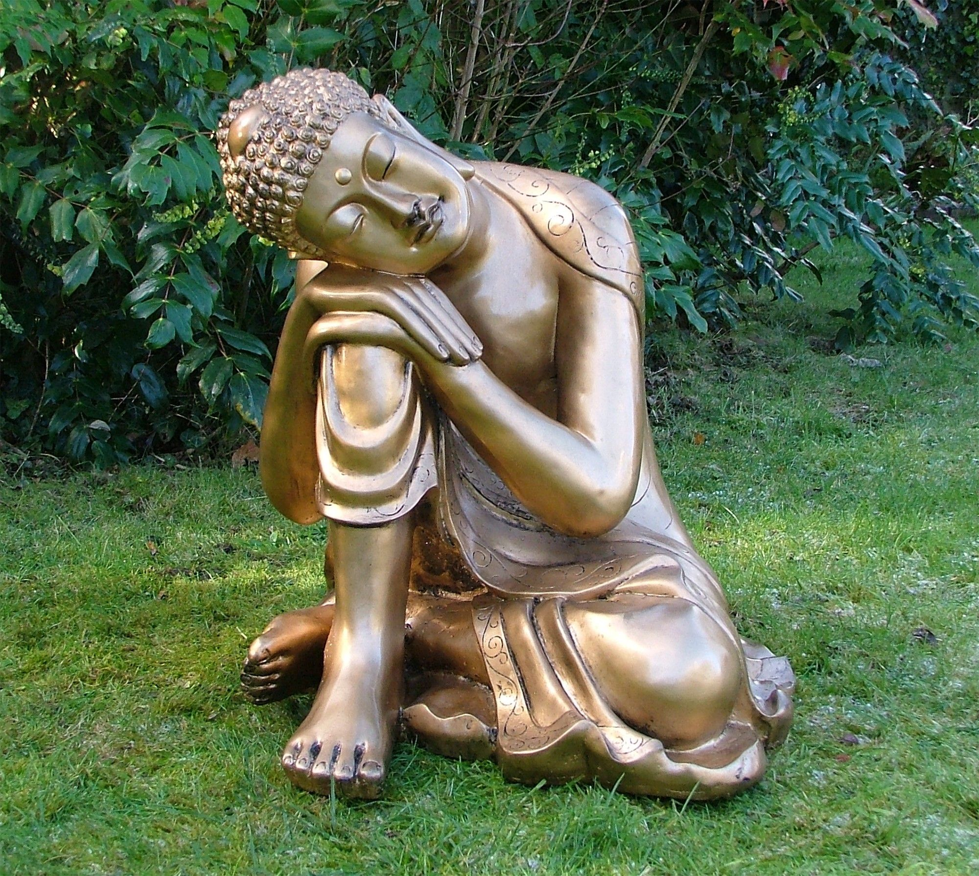 Ornaments for garden - Large Garden Ornaments Gold Sleeping Deity Buddha Statue Buy Now At Http