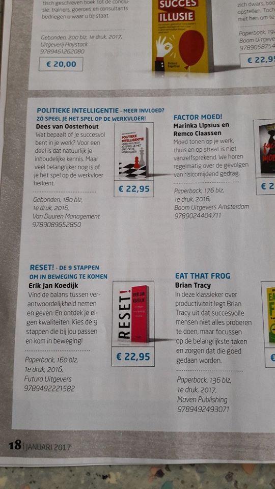 Het boek 'RESET!' van Erik Jan Koedijk mooi in de januari editie van Managementboek Magazine, bestel nu!  #reset #erikjankoedijk #mgtboeknl #futurouitgevers