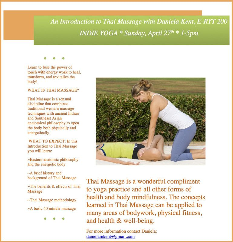 San Diego, CA Thai Massage is a wonderful compliment to yoga - yoga flyer