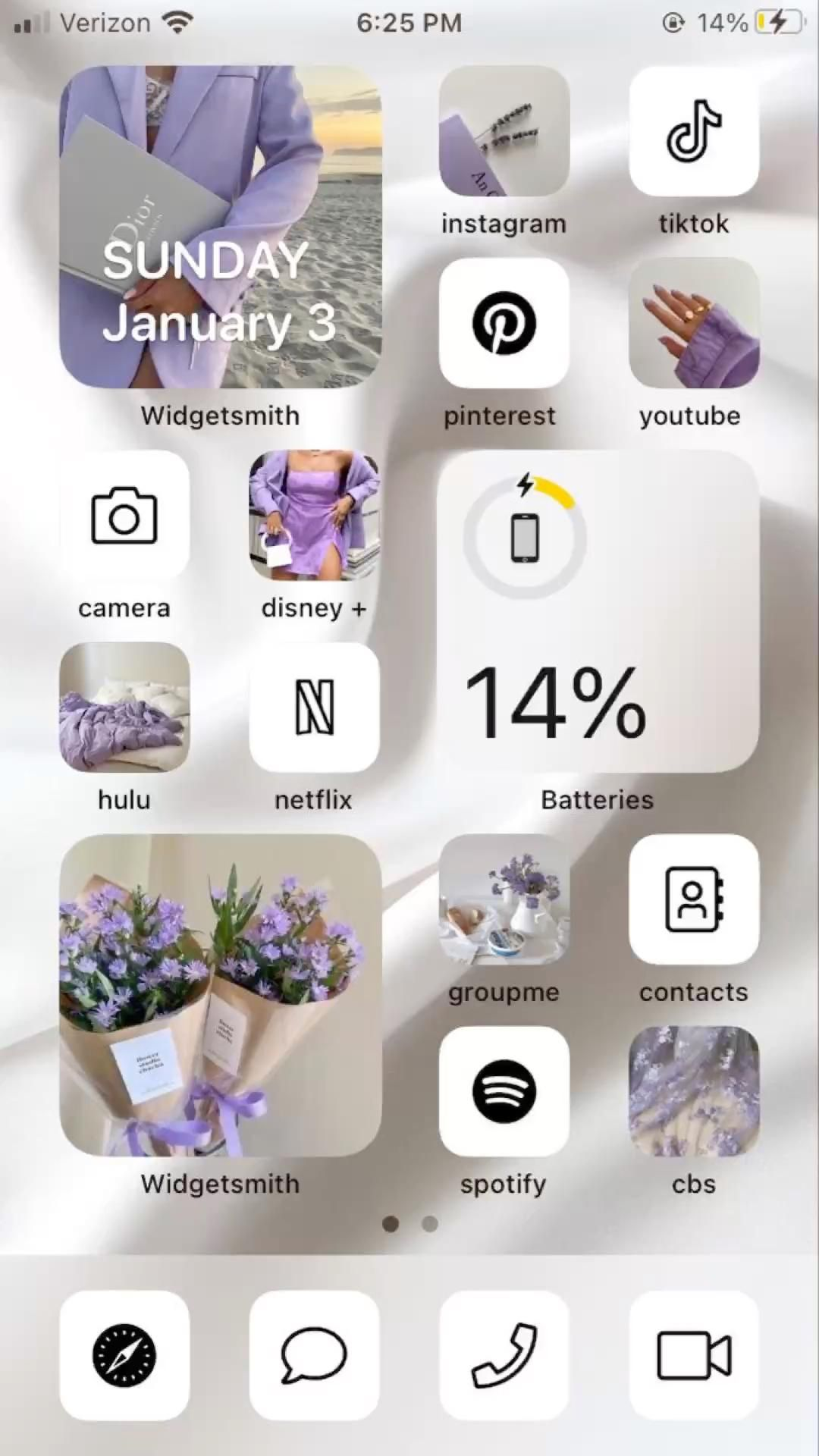 purple/white ios14 home screen set — check out my account for more ios14 sets <33