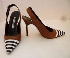 dbc892c10435 MANOLO BLAHNIK Brown Leather w  White   Black Stripe Slingback Heels Sz 36