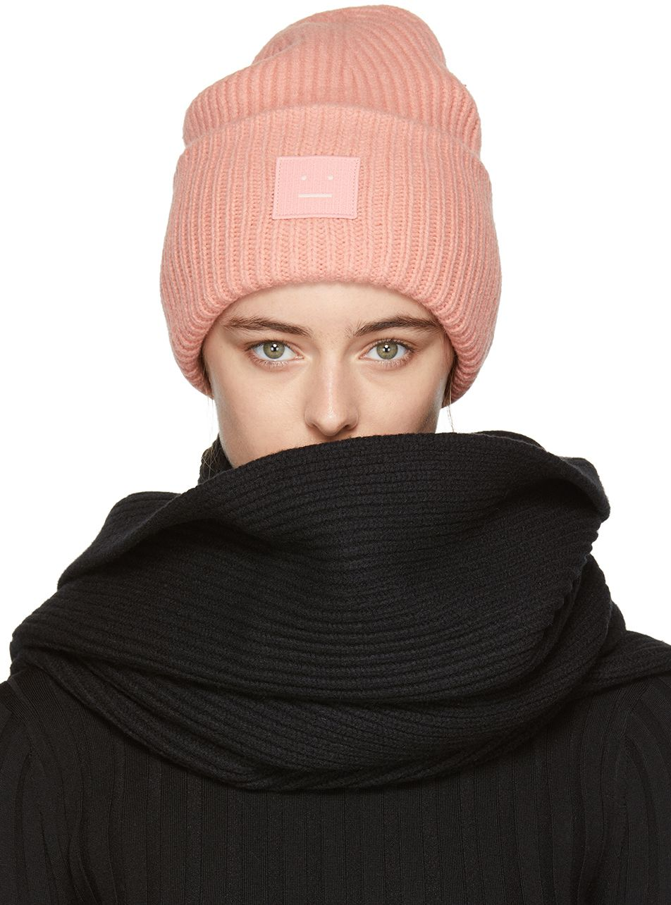 42483dfc2 Pink Pansy L Face Beanie   Clothing   Beanie, Acne studios, Pink beanies