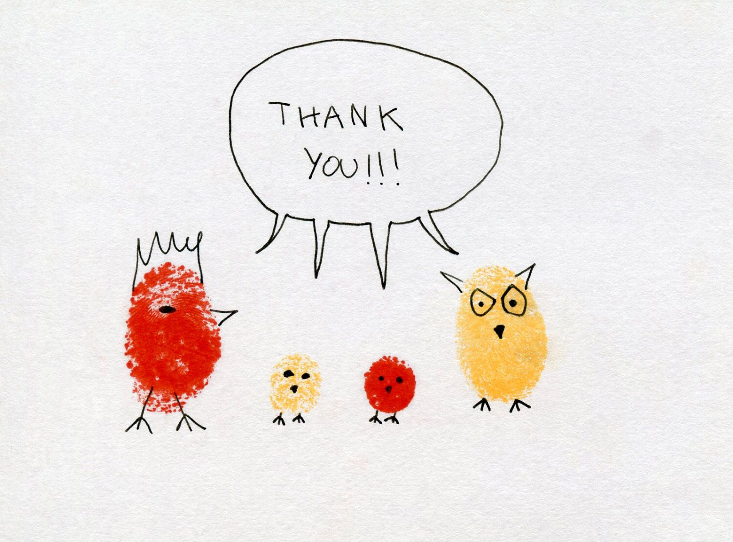Etsy Art Thank You Card Red Rooster Know Owl Family Fingerprint Art