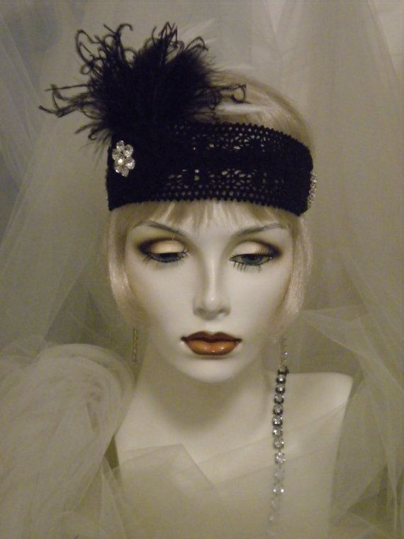 1920s black and ivory feather headpiece by elisevictoriadesigns