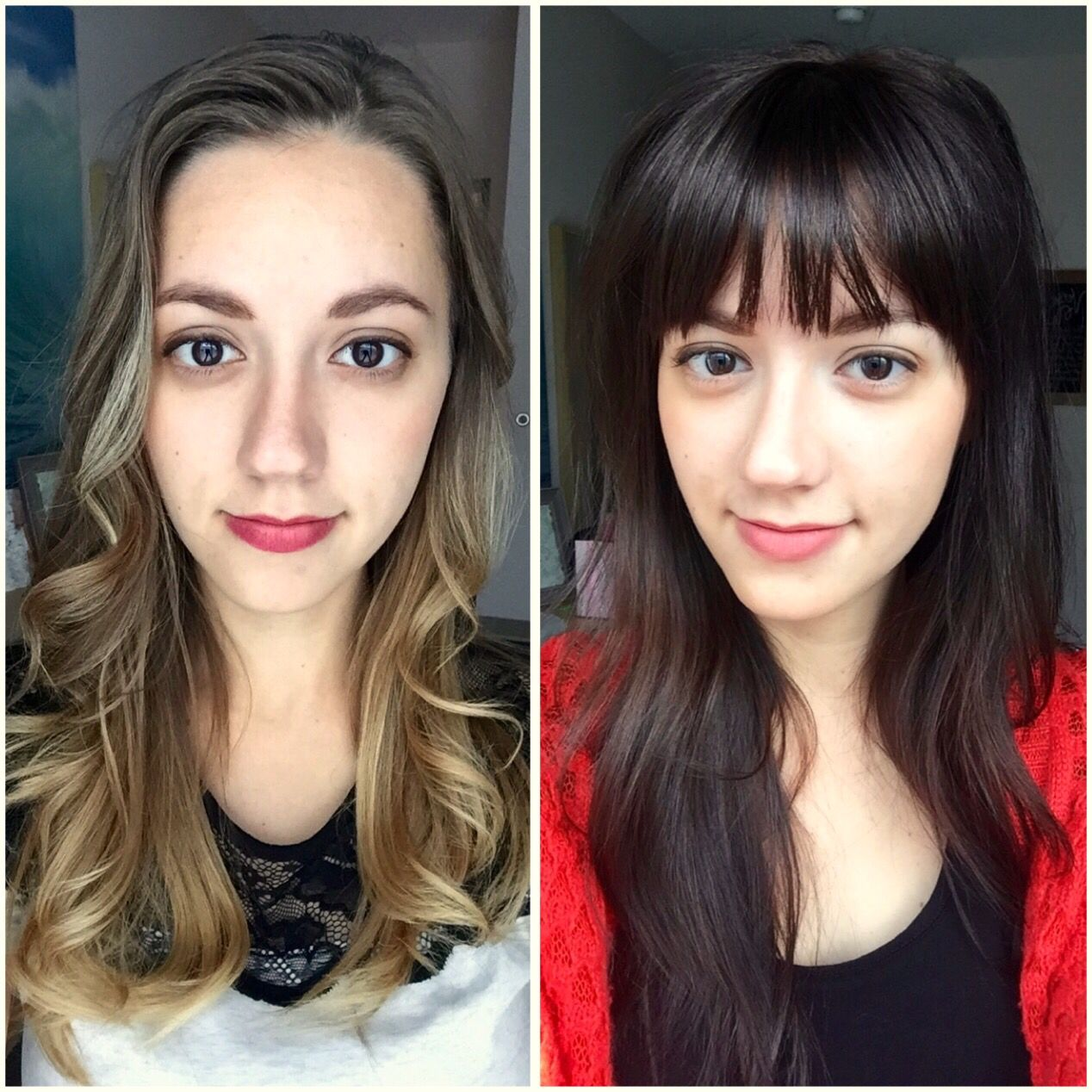 Young-Shaved-Brunette-Gerri-with-Brown-Eyes Went from dirty blonde ombré to dark brown hair with bangs! Before and  after -