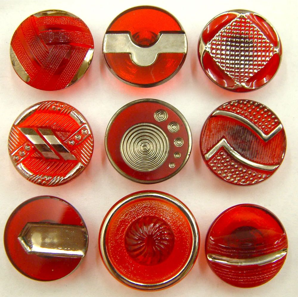 9 Vintage Transparent Cranberry Red Glass Buttons With Silver Art Deco Trims