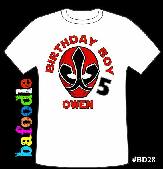Power Rangers Personalized Age Tshirt Birthday Shirt Favor Drakes Happy 5th 4th