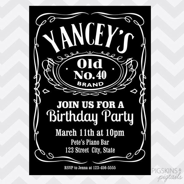 Whiskey Birthday Invitation Jack Daniels Jack Daniels Logo Jack Daniels Label