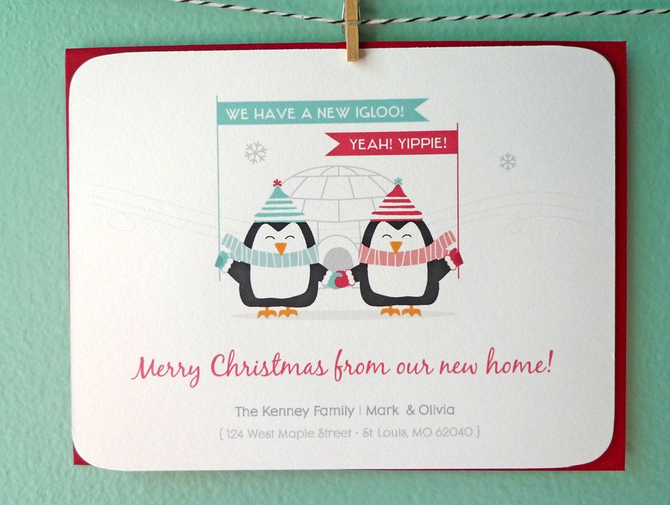 personalized winter penguin we ve moved christmas cards moving