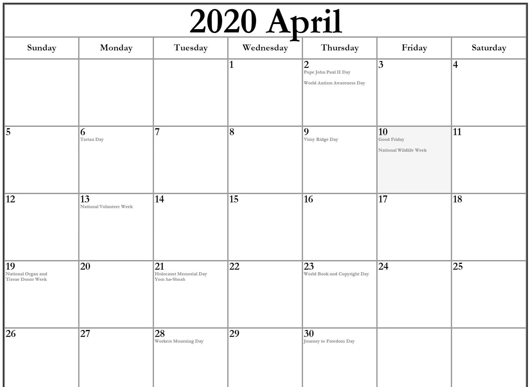 Holidays Calendar For April 2020 Templates In 2020 Holiday