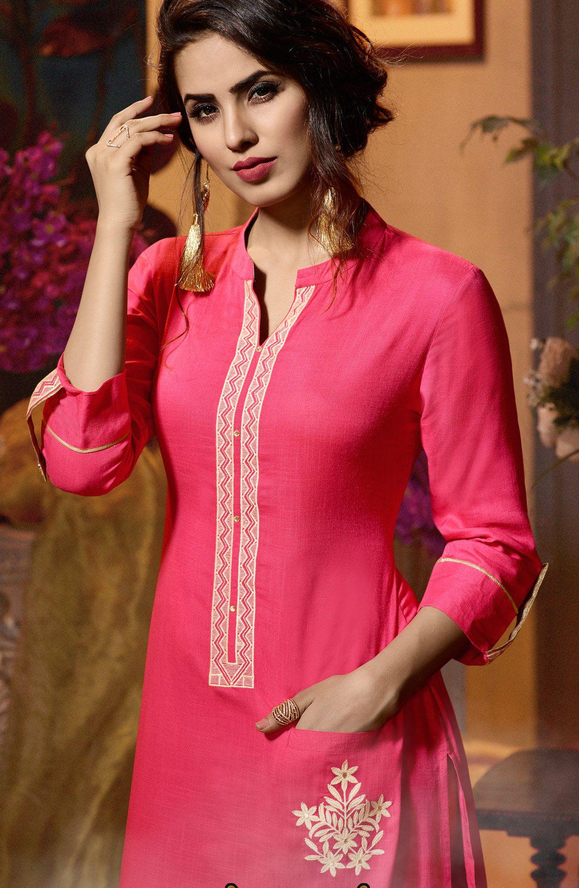 e013f630a92 Majestic Pink Colored Fancy Embroidered Rayon Kurti