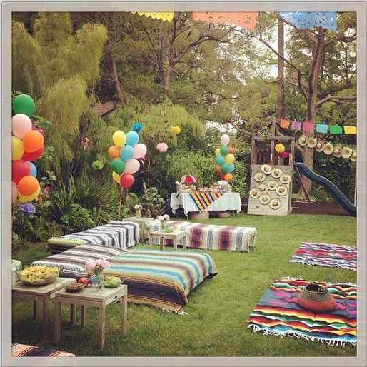 Ideas For Backyard Parties: Set Up Bails Like A Couch With White Sheets From Rebuilt
