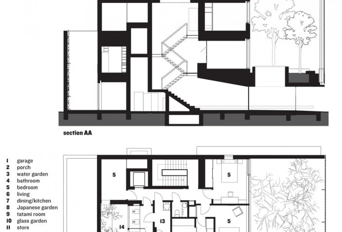 Section And Ground Floor Plan Optical Glass House By Hiroshi Nakamura Nap Hiroshima Japan Glass House House Plans Ground Floor Plan