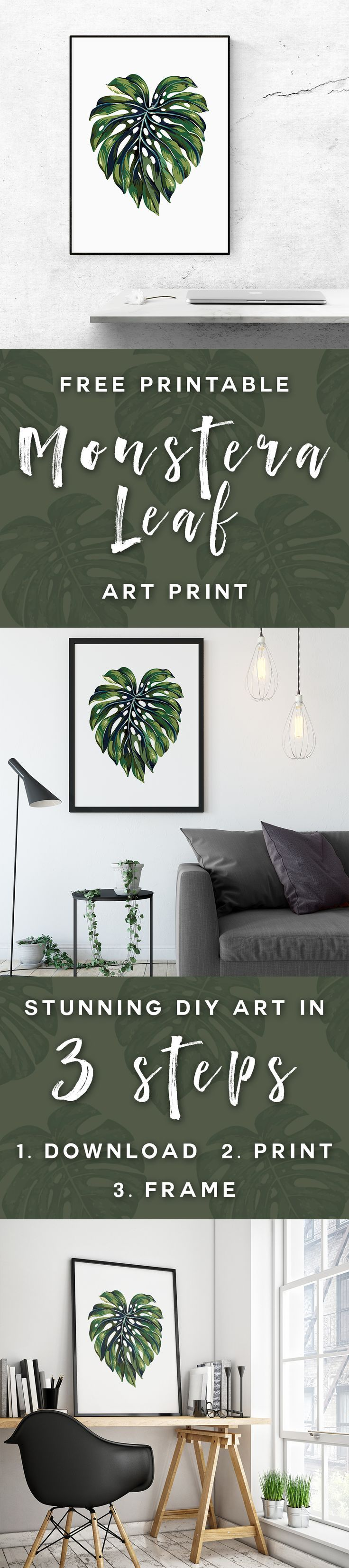 Join the tropical trend and claim your FREE printable Monstera Leaf