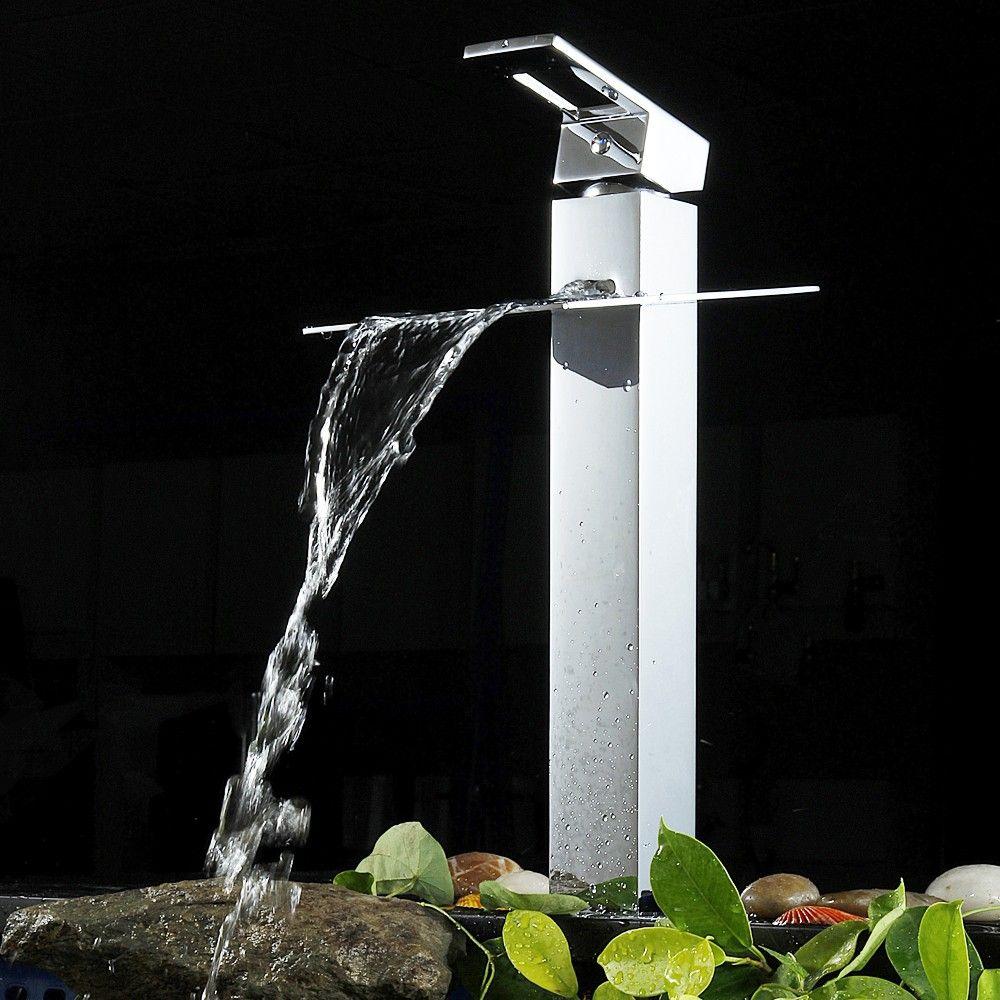Koko Waterfall Single Hole Modern Vessel Sink Faucet 12.5; 8.25 ...