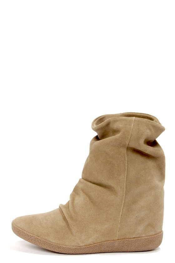 c9268193ce3a Steve Madden Headlne Taupe Suede Slouchy Wedge Boots