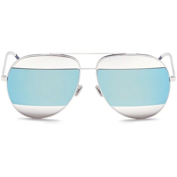 Dior 'Dior Split' inset metal aviator mirror sunglasses ($630) ❤ liked on Polyvore featuring accessories, eyewear, sunglasses, metallic, metal glasses, metallic sunglasses, mirrored aviators, mirrored aviator sunglasses and mirror glasses