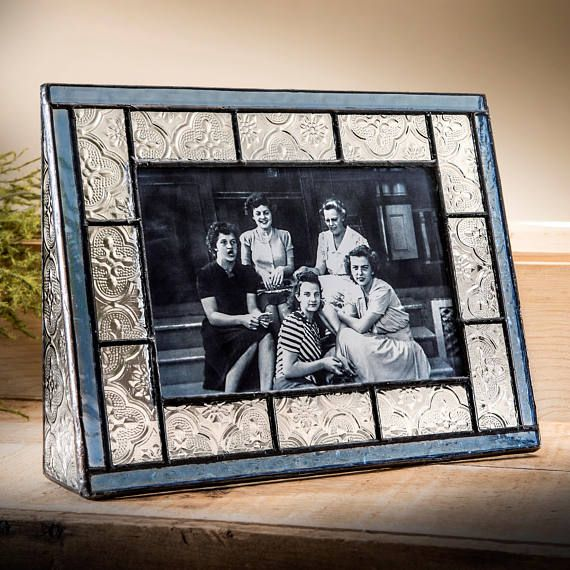 Stained Glass Picture Frame Blue Trims Clear Vintage Home Decor 4x6 ...