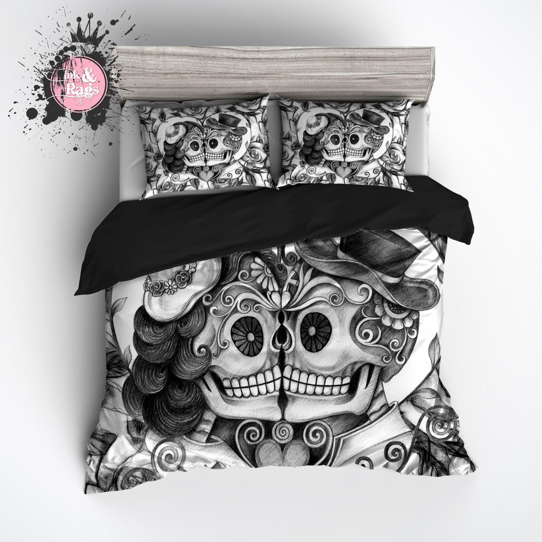 Pencil Sketch Rose Kissing Couple Sugar Skull Bedding