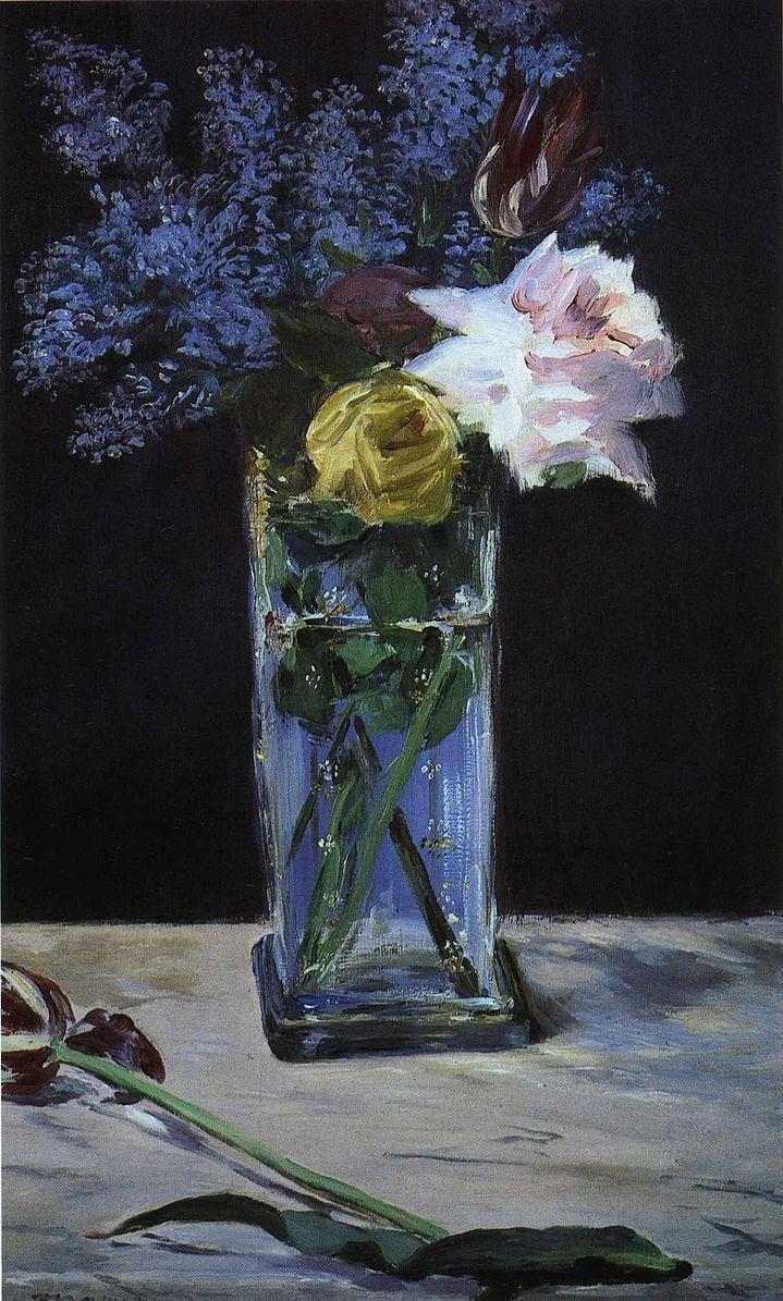 Datei:Édouard Manet - Roses, Tulips et Lilas dans un vase de christal.jpg