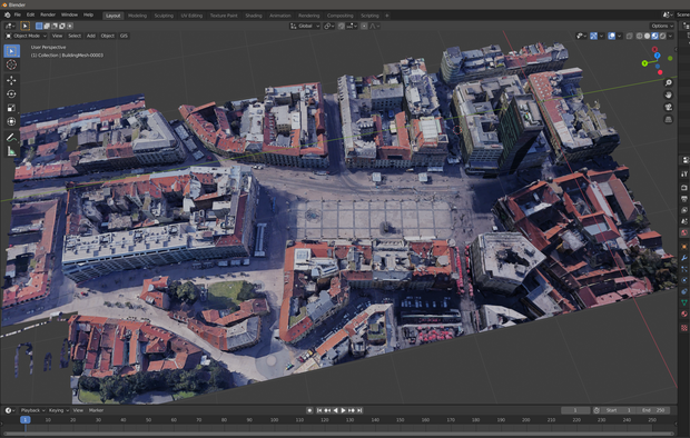 Initial successful Google Maps tests in Blender in 2020