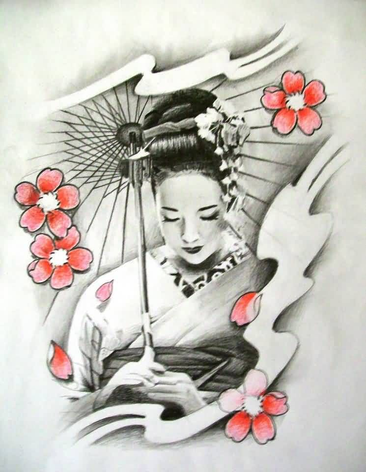 Geisha tattoo cherry blossom n geisha tattoo design - Tattoos geishas japonesas ...