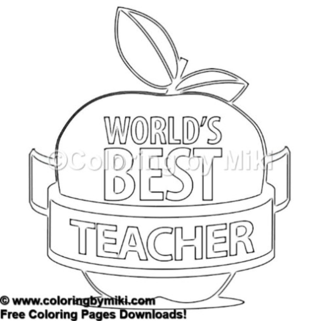 world s best teacher apple coloring