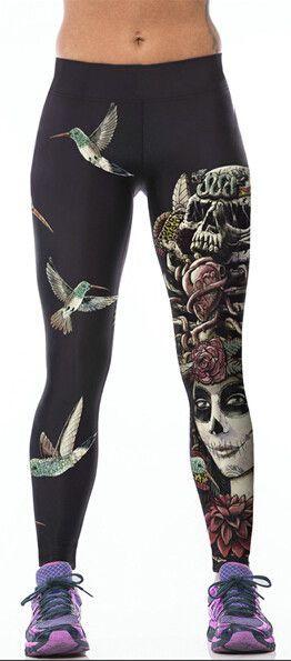 48c16e7128b38 High Waist Skull 3d Printed Leggings Push Up Workout Legging ...