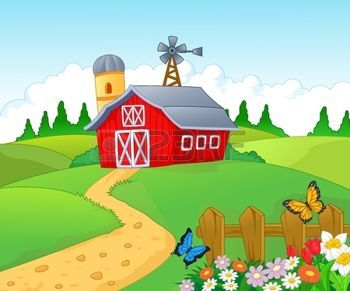 Farm Cartoon Background Photo