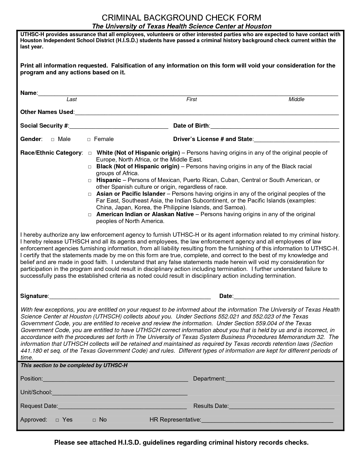 Criminal Background Check Form Template Check out this Background ...