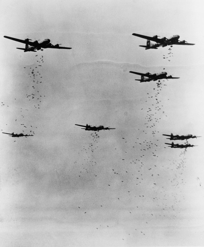 "wwii-bombers: "" B-29 Superfortress bombers dropping bombs ..."