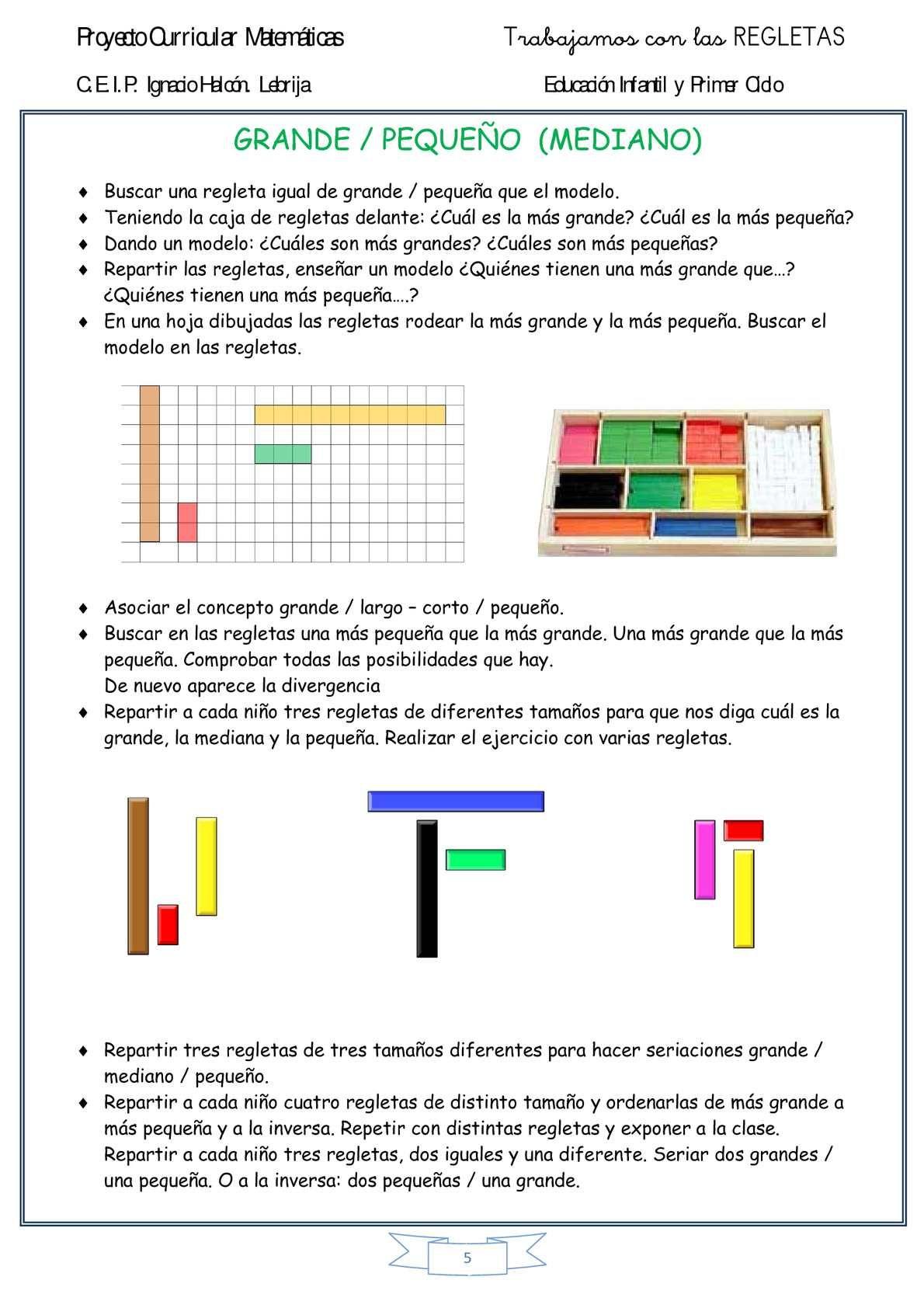 Comprobar Decimo Del Niño 2013 Secuencia Didactica Regletas De Cuisenaire 5 Regletas Regletas