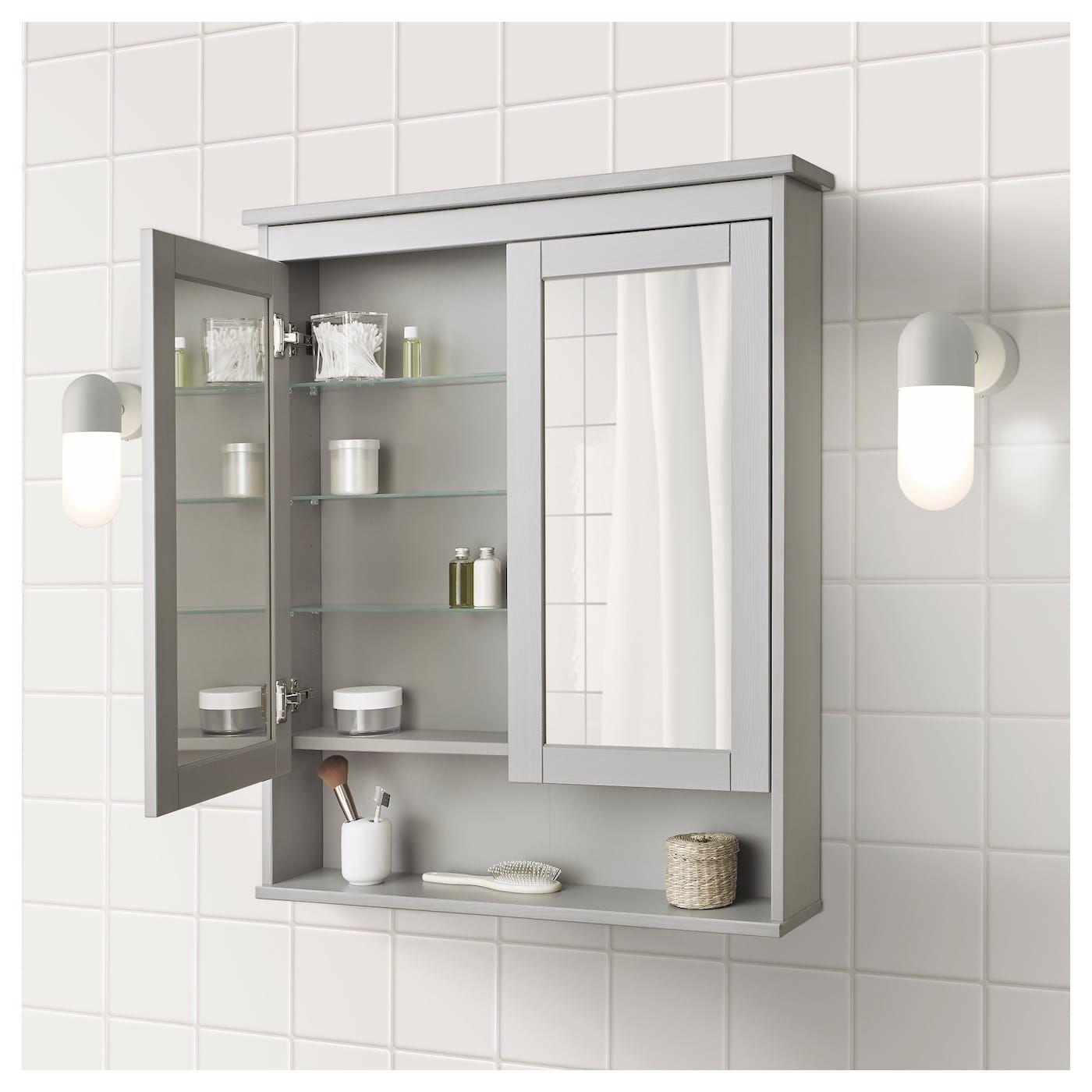 Hemnes Spiegelschrank 2 Turen Grau Badezimmer Design