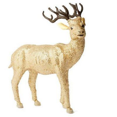Arcadia Home Golden Reindeer with Glass Beads