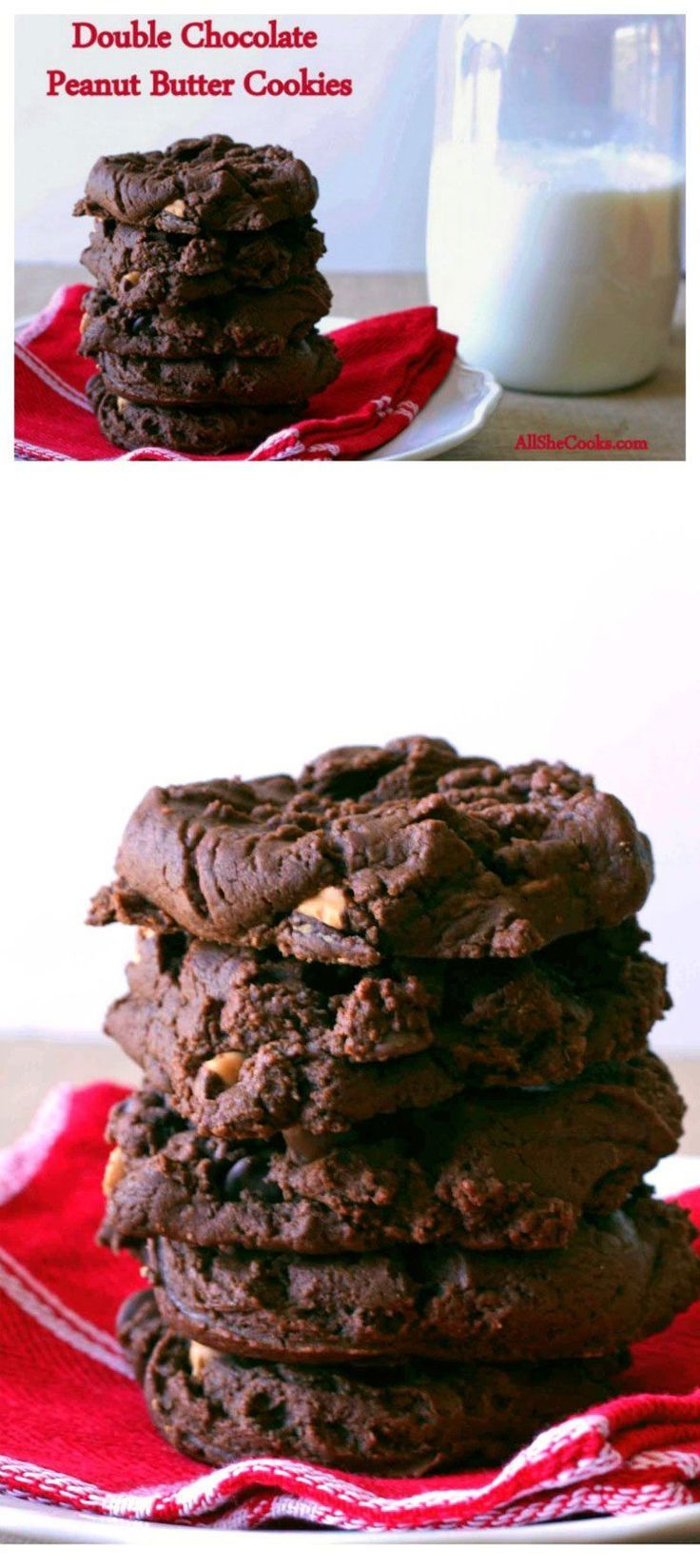 Easy Christmas Cookies Recipes = Double Chocolate Peanut Butter Cookies