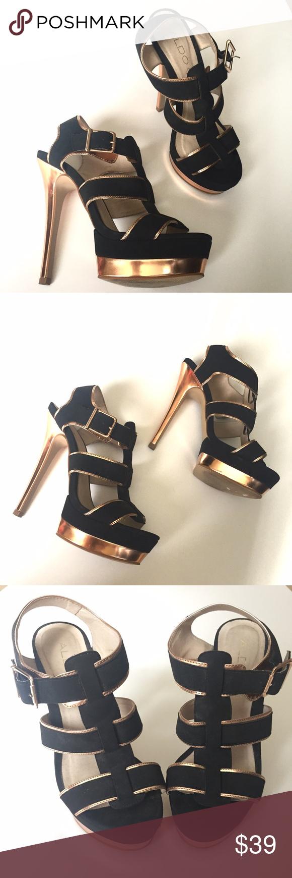 10f07643235 ALDO black and rose gold strappy platform heels ALDO strappy heeled ...