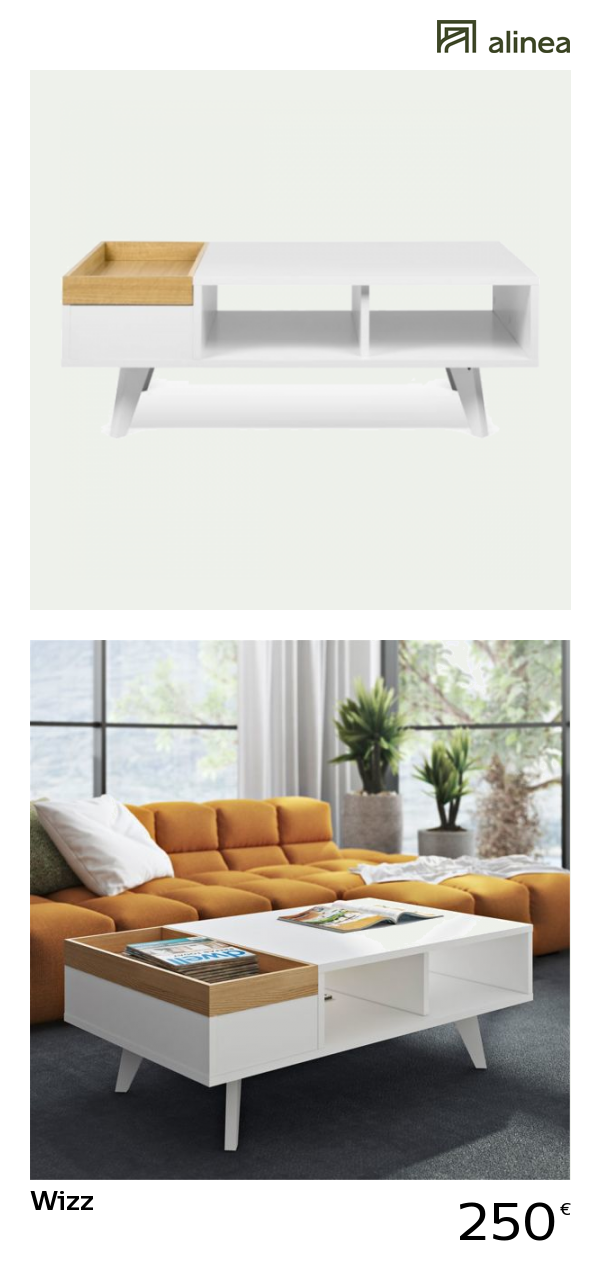 alinea wizz table basse avec plateau