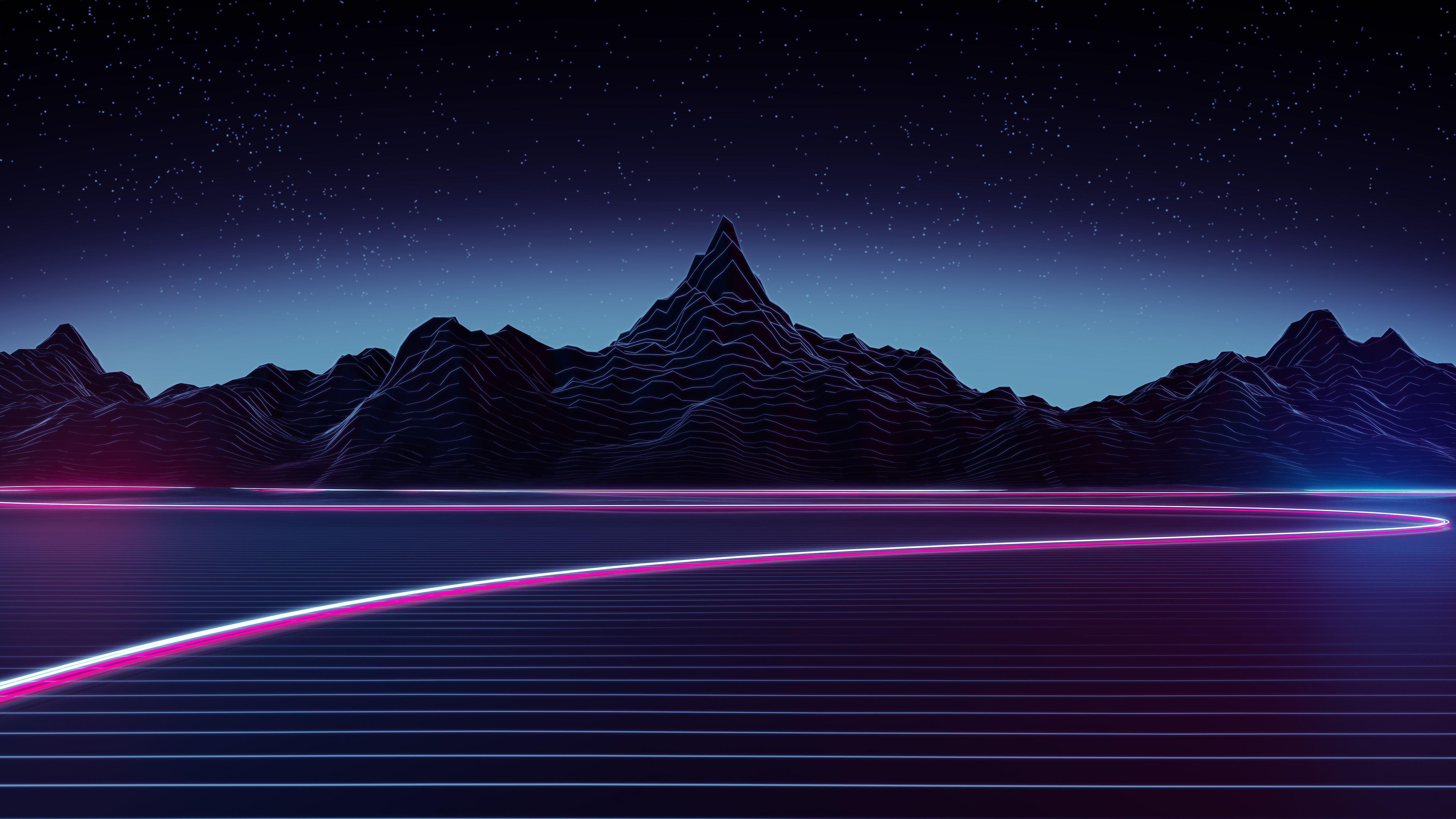 Neon Highway 4k 5k Paysage Nocturne Paysage Et Fond D