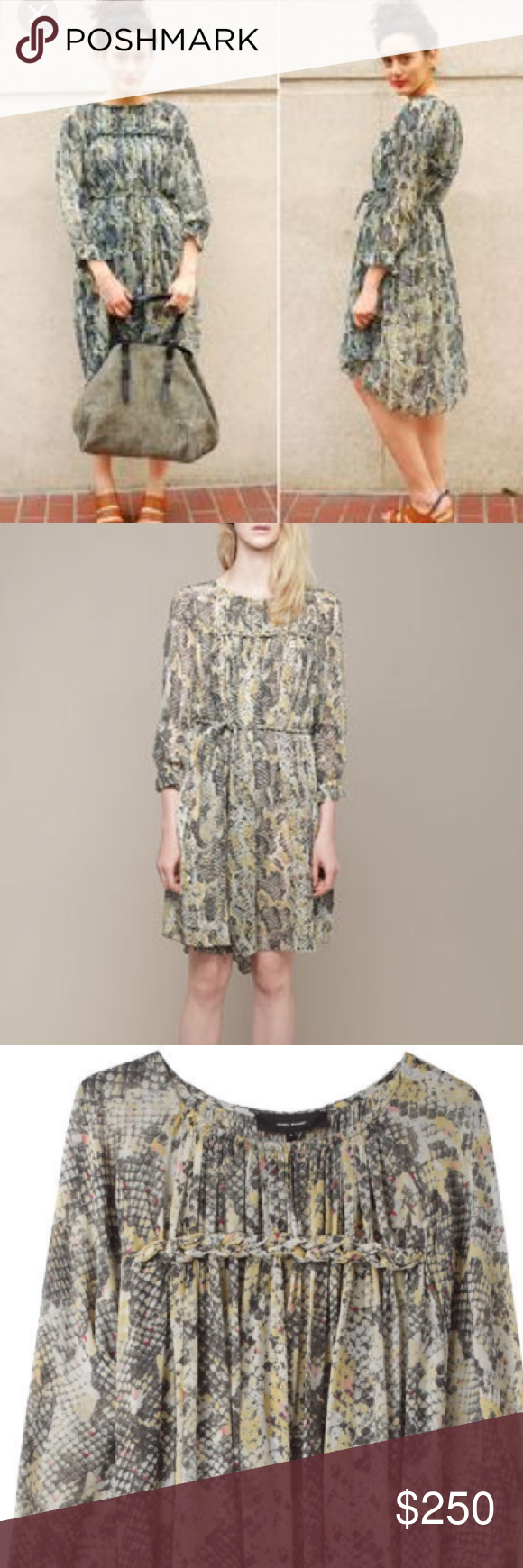 """Isabel Marant """"Martina"""" Silk Dress $950 Semi-sheer, silk dress with gathers at neck, braided details at front & back chest, and braided belt. Excellent, pre-worn condition.   Rounded neck with raw edges / Gathers at front and back neck / Long sleeves / Gathered and ruffled sleeve hem /  Semi-sheer snake printed silk  / 100% silk. Size 40, would fit a small or medium. Link to additional product description: http://www.lagarconne.com/store/item.htm?itemid=15742&sid=24 Isabel Marant Dresses…"""