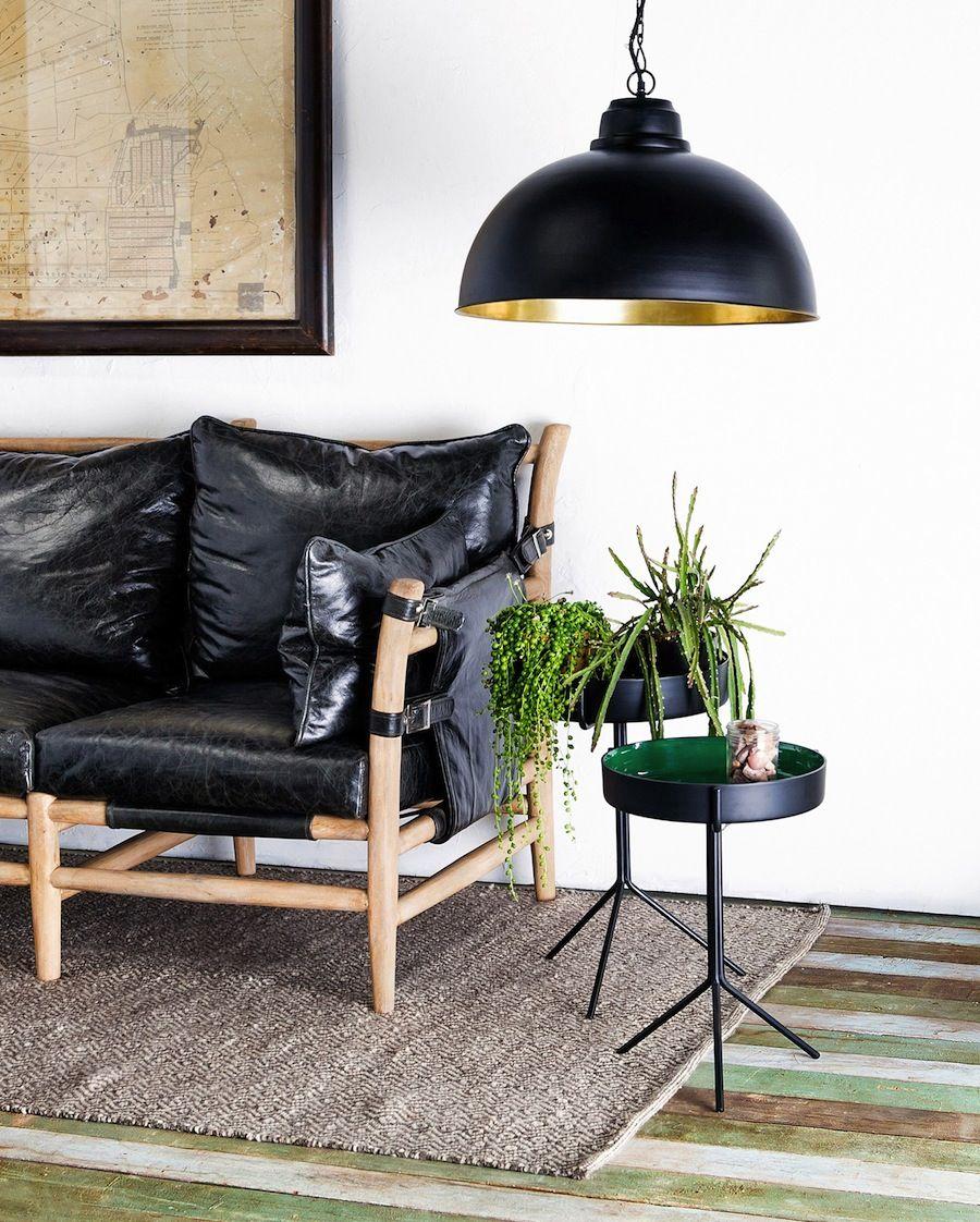 Beautiful Cg Sparks, Black Leather Sofa, Natural Fiber Rug, Black Pendant Light, Plant