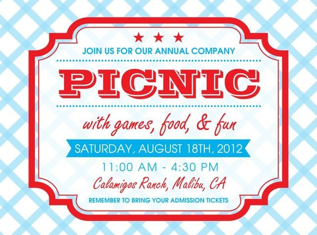 Free Printable Picnic Invitation Template   Google Search To Company Party Invitation Templates